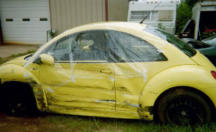 VW Yellow Bug Crash