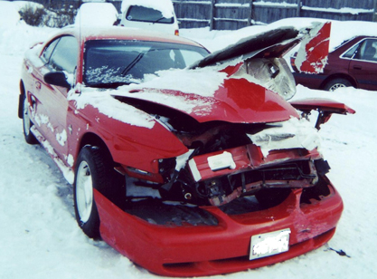 Mustang Snow Accident