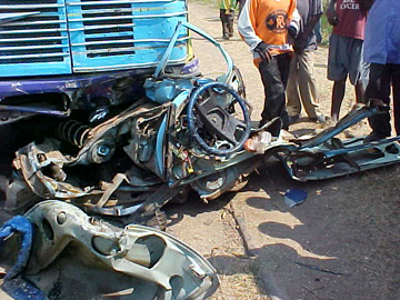 Car Crushed by Lorry in Africa