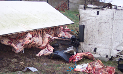 meat truck rollover accident ireland see more truck accident pictures