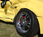 Mustang yellow crashed