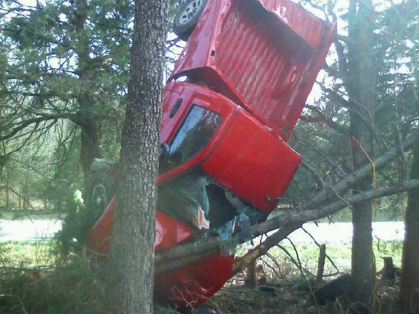 Red Truck in Trees