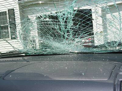 Windshield Broken by Deer Collision